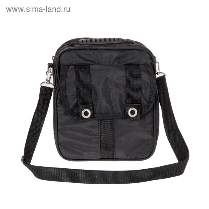 Сумка мужская, 1 отдел, 1 наружный карман, длинный ремень, цвет чёрный