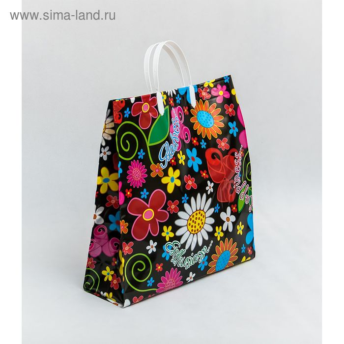 "Пакет ""Цветы"" мягкий пластик, объемный, 35х33 см, 160 мкм"