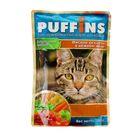 """Влажный корм """"Puffins"""" для кошек, мясное ассорти в нежном желе, 100 г"""