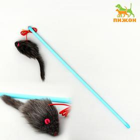 Дразнилка-удочка с серой мышью, палочка микс цветов