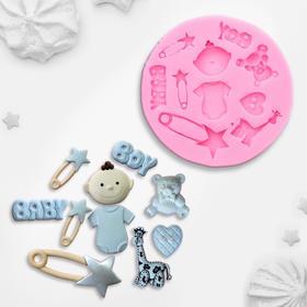Молд силиконовый «Для новорождённого», 8×1 см, цвет МИКС