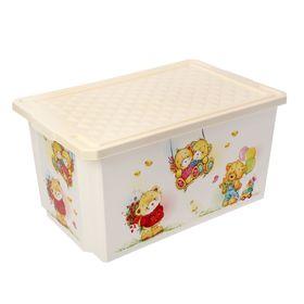 Ящик для игрушек 57 л X-BOX Bears на колесах с крышкой, цвет МИКС