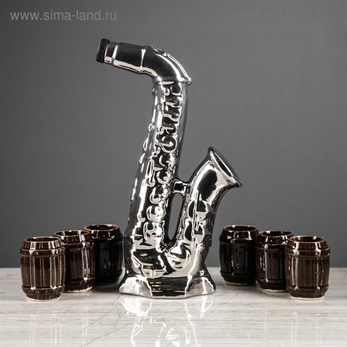 """Штоф с рюмками """"Саксофон"""", серебро, 7 предметов, 0,55 л"""