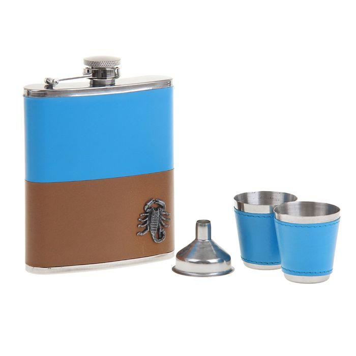 """Подарочный набор 4 в 1 """"Скорпион"""", коричнево-голубой: фляжка 210 мл + воронка и 2 рюмки"""