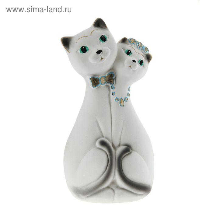 """Копилка """"Влюбленная пара"""" большая, флок, белая, голубая декор"""