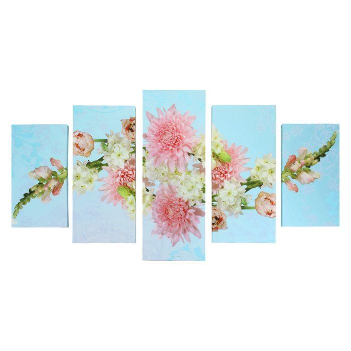 """Модульная картина на подрамнике """"Летний букет"""", 2 — 43×25, 2 — 58×25, 1 — 72×25 см, 75×135 см"""