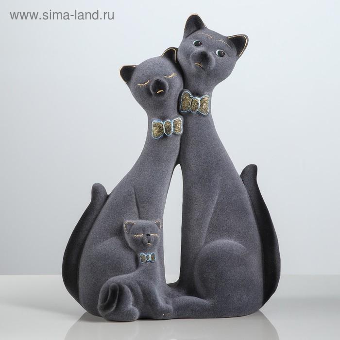 """Копилка """"Семья котиков"""" большая, флок, серая"""