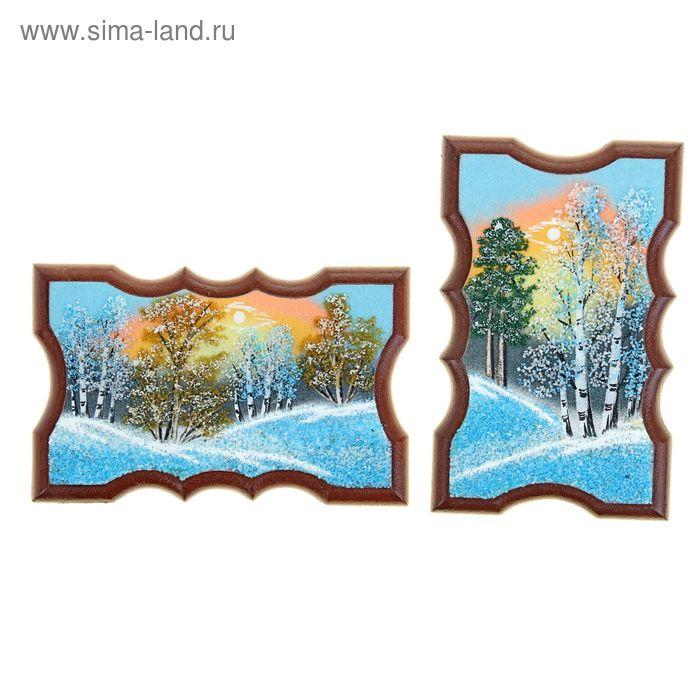 """Картина """"Зима"""" прямоугольная, каменная крошка"""
