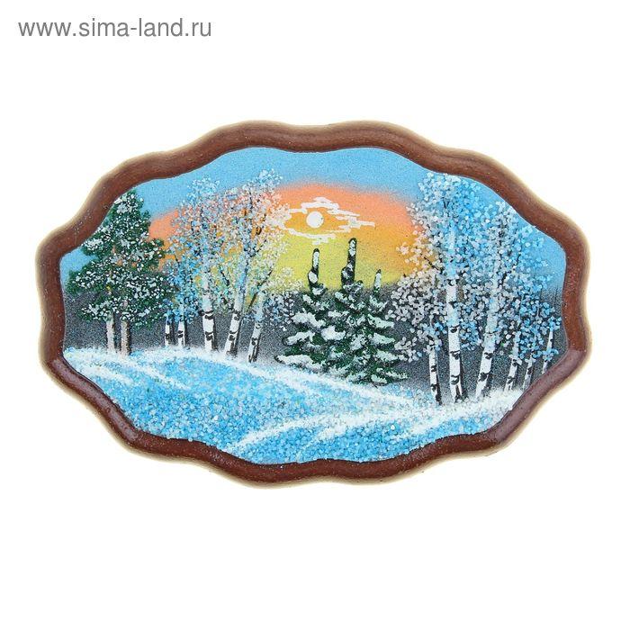 """Картина """"Зима"""" в форме облака №1 12х18 см 071 каменная крошка"""