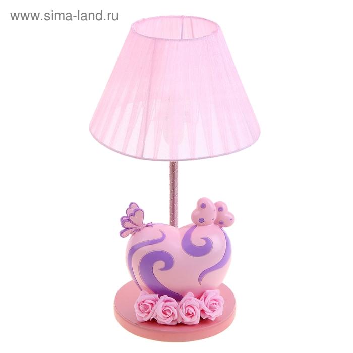 "Лампа настольная ""Розовая с сердечком"" розовая"