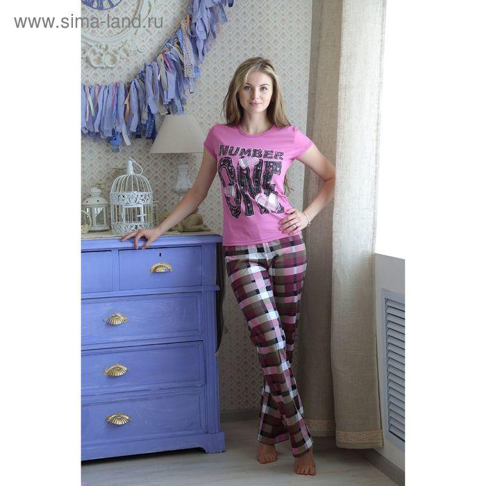 Комплект женский (футболка, брюки), цвет брусника, размер 46 (арт. FS2175a)