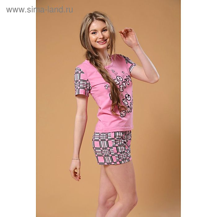 Комплект женский (футболка, шорты), цвет розовый, размер 42 (арт. FS2162b)