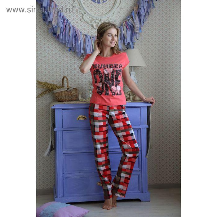Комплект женский (футболка, брюки), цвет коралл, размер 46 (арт. FS2175a)