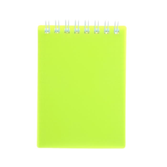 Блокнот в пластиковой обложке А7, 80 листов на гребне DIAMOND NEON, желтый