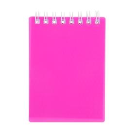 Блокнот в пластиковой обложке А7, 80 листов на гребне DIAMOND NEON, розовый Ош