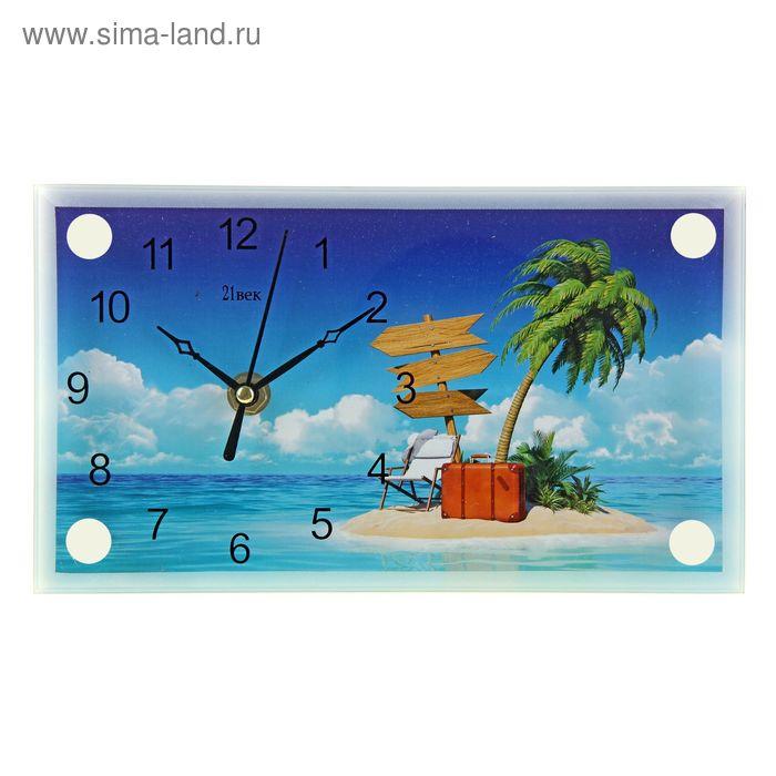 """Часы настольные прямоугольные """"Пальма на островке"""" 13х23 см"""