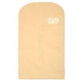 Чехол для одежды с окном, 60×100 см, спанбонд, цвет бежевый
