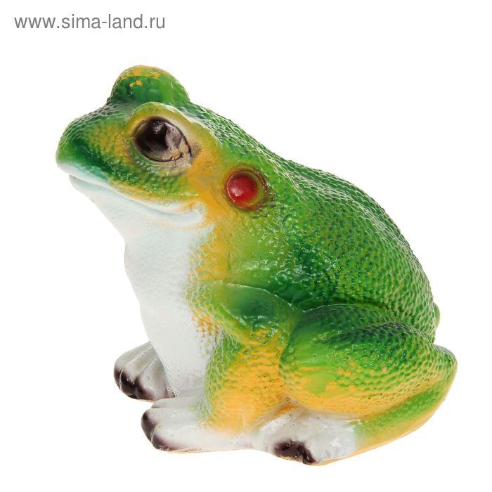 """Садовая фигура """"Лягушонок"""" зелёная спинка, белая грудка"""