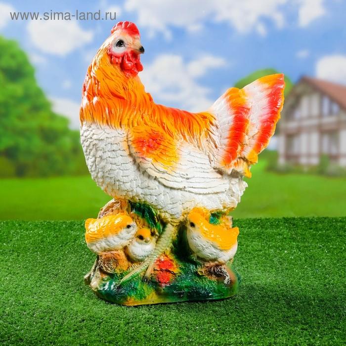 """Садовая фигура """"Рыжая курица с цыплятами"""""""