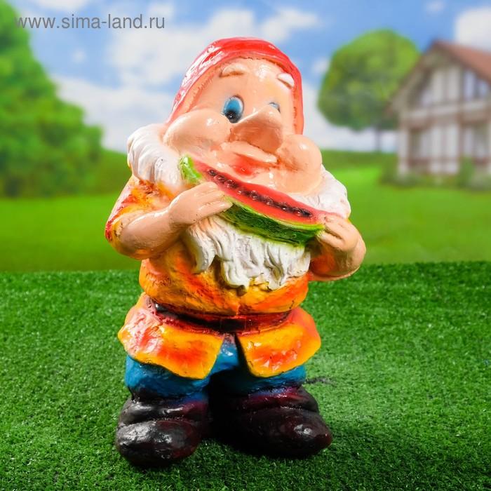 """Садовая фигура """"Гном с арбузом"""" оранжевый кафтан"""