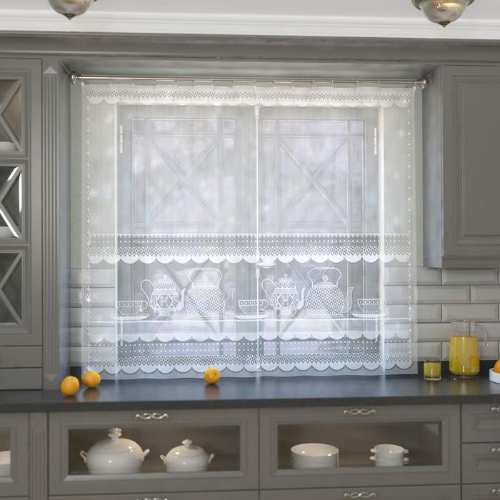 Штора кухонная 163х170 см, белый, 100% п/э, без шторной ленты