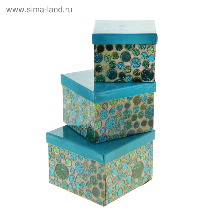 """Набор коробок 3в1 """"Минералы"""", цвет синий"""