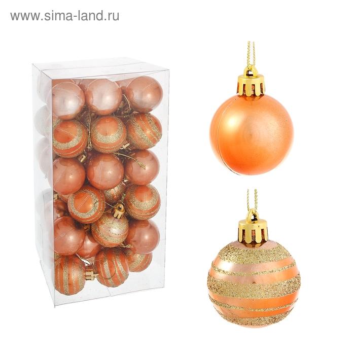 """Новогодние шары """"Карамелька с золотыми полосками"""" (набор 54 шт.)"""