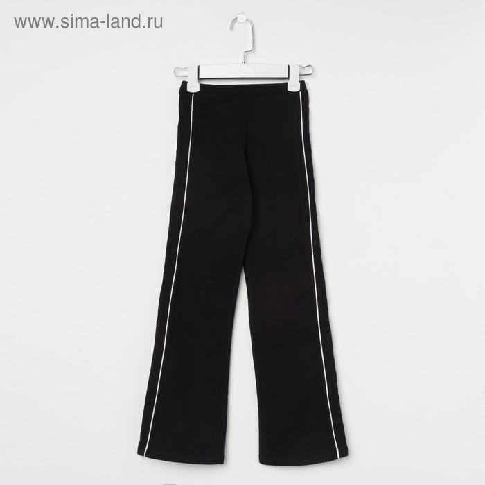 Брюки гимнастические детские с лампасами, рост 164 см (14 лет), цвет черный
