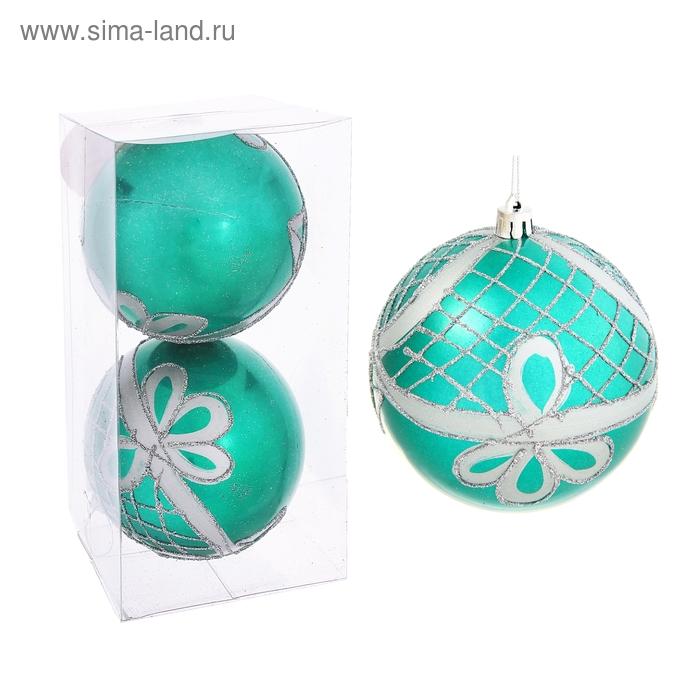 """Новогодние шары """"Изумрудный мираж с цветочным узором"""" (набор 2 шт.)"""