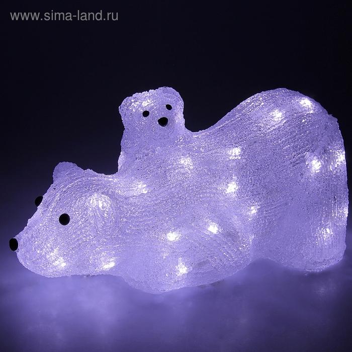 "Фигура акрил. ""Медведица с медвежонком"" 36х17х16 см, 40 LED, 220V, БЕЛЫЙ"