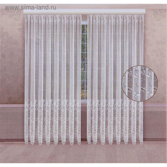Комплект штор со шторной лентой, ширина 210 см, высота 250 см-2 шт., цвет белый