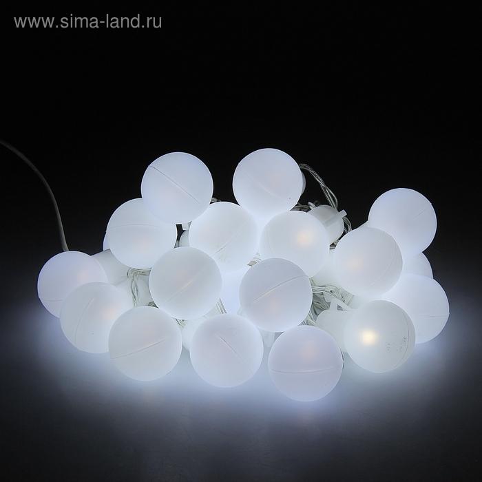 """Гирлянда """"Метраж"""" с насадкой """"Большие шарики 5 см"""" 6 м, LED-20-220V, фиксинг, БЕЛЫЙ"""
