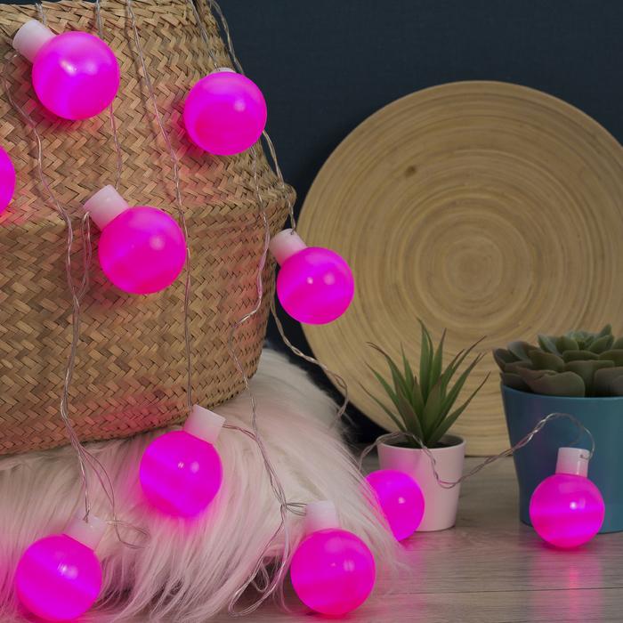 """Гирлянда """"Метраж"""" 6 м с насад. """"Большие шарики 5 см"""", LED-20-220V, фиксинг, РОЗОВЫЙ"""
