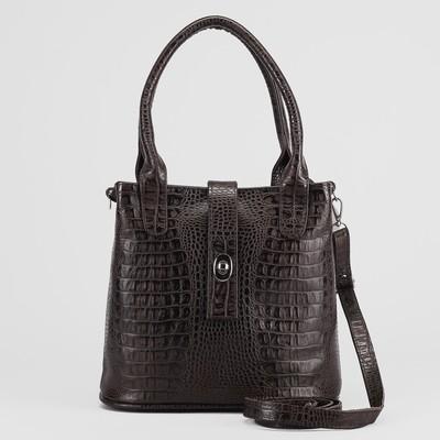 Сумка женская на молнии, 1 отдел, 1 наружный карман, тёмно-коричневая