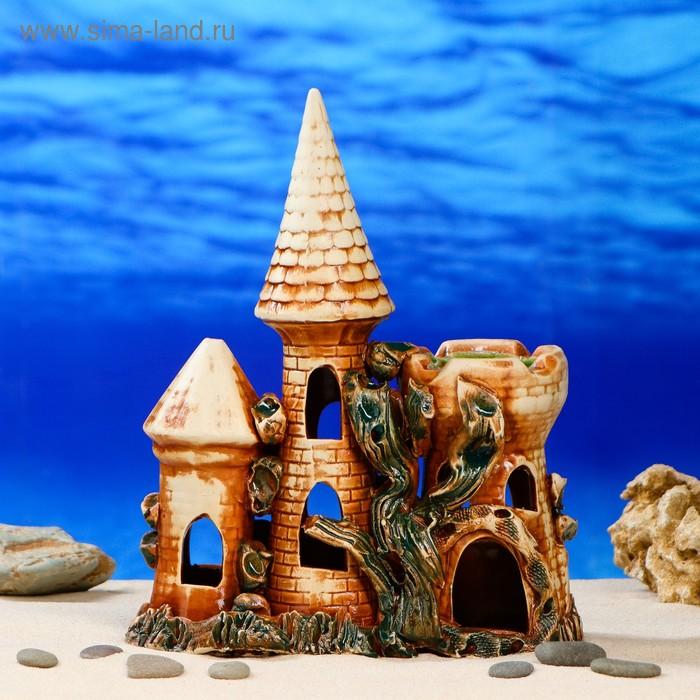 """Декорации для аквариума """"Замок средний тройной"""" глянец"""