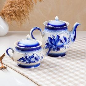 "Чайный набор ""Витязь"", 2 предмета, чайник 1.4 л, сахарница 0.6 л"