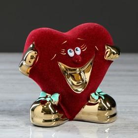 "Копилка ""Сердце'' красная, булат, 13 см, микс"