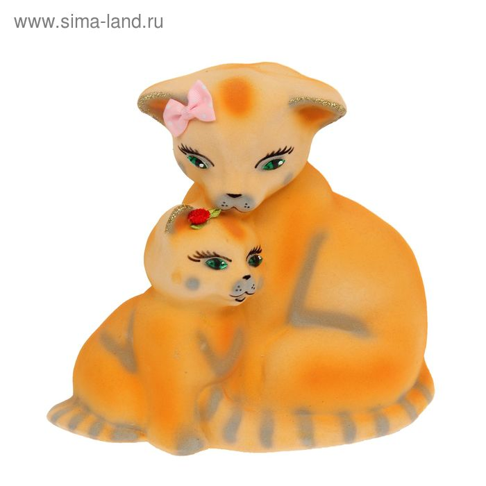 "Копилка ""Кошка с котёнком"" флок, жёлтая, задувка золото"