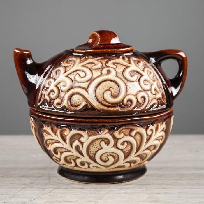 """Чайный набор """"Восток"""", 2 предмета, чайник, сахарница, 0,7 л"""