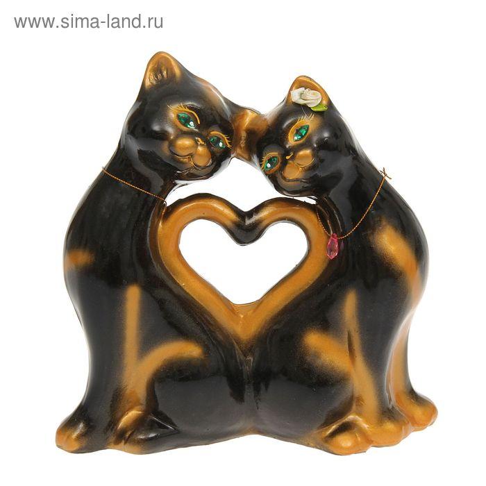 """Копилка """"Кошки"""" в форме сердца, большая, глянец, чёрная"""