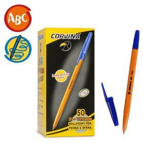 """Ручка шариковая Corvina """"51 Vintage"""" синие чернила, узел 1,0 мм, желтый корпус"""