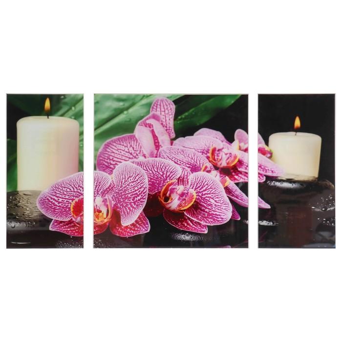 """Модульная картина на стекле """"Орхидея со свечой"""", 2 — 25×50, 1 — 50×50 см, 100×50 см"""