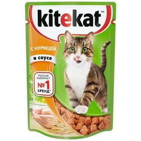 Влажный корм Kitekat для кошек, курица в соусе, пауч 85 г