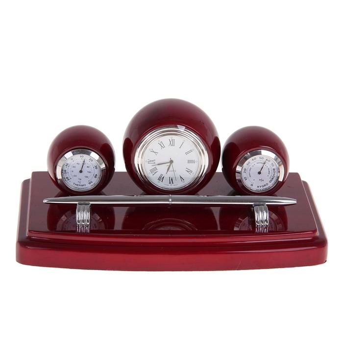 Набор настольный «Показатель»: часы, термометр, гидрометр, ручка