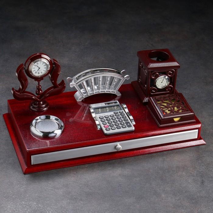 Набор настольный «Стиль»: часы, глобус, перекидные листы, нож для писем, лупа, ручка