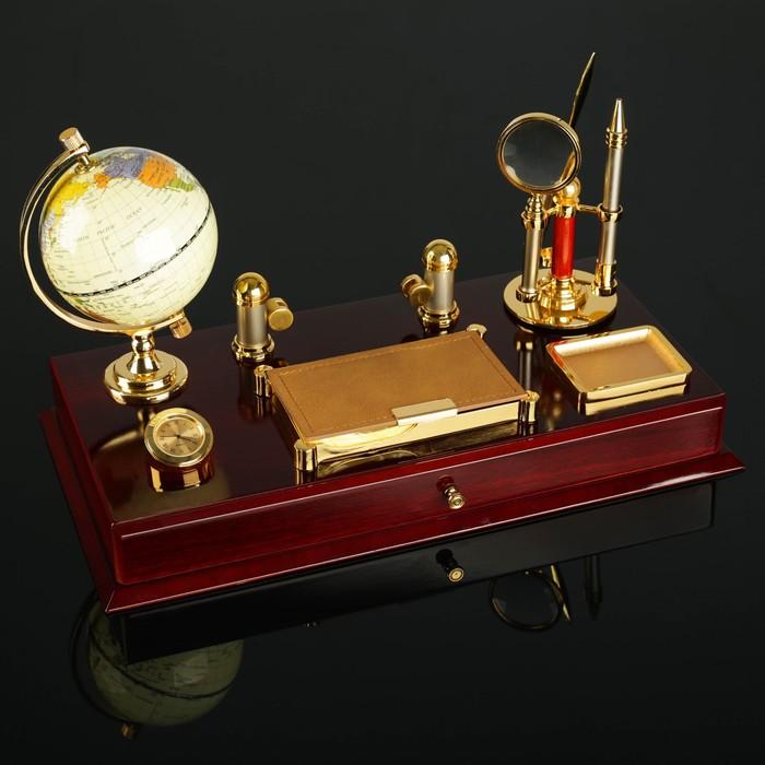 Набор настольный «Грация»: глобус, часы, визитница, блок для бумаги, лоток для скрепок, ручка, лупа, нож