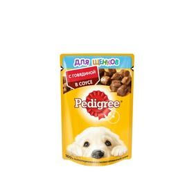 Влажный корм Pedigree для щенков, говядина в соусе, пауч, 85 г Ош