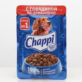 Влажный корм Chappi для собак, с говядиной, пауч, 100 г Ош