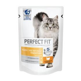Влажный корм Perfect Fit для кошек с чувствительным пищеварением, индейка в соусе, пауч,85 г