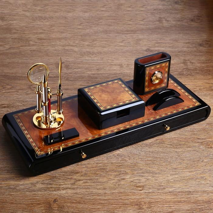 Набор настольный «Роскошь»: блок для бумаги, часы, подставка для ручек, визиток, нож, лупа, ручка